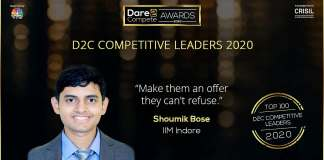 The back to back winner of D2C Competitive Leaders award Shoumik from IIM Indore