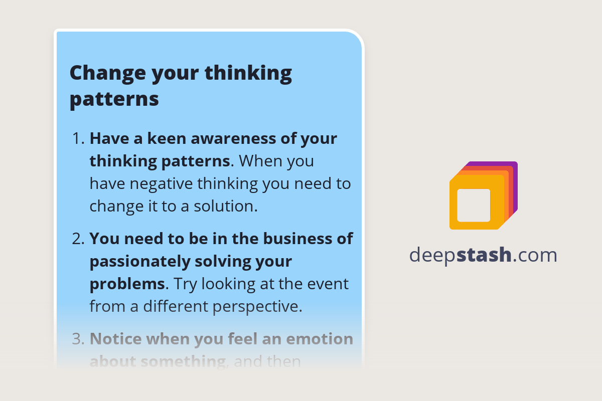 Change Your Thinking Patterns