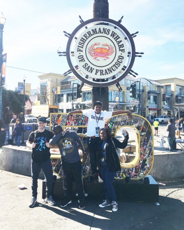 The quartet showing some Panther Pride at Fisherman's Wharf.