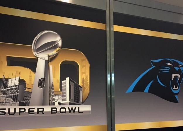 Panther Super Bowl 50 logos at convention center