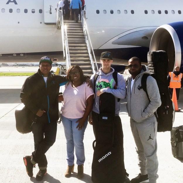Sol Fusion quartet board the charted plane to Super Bowl 50.