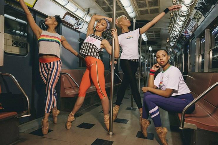 Hiplet Ballerinas posing in promotional photo on Chicago's El train.