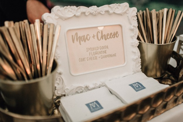 wedding reception food signage