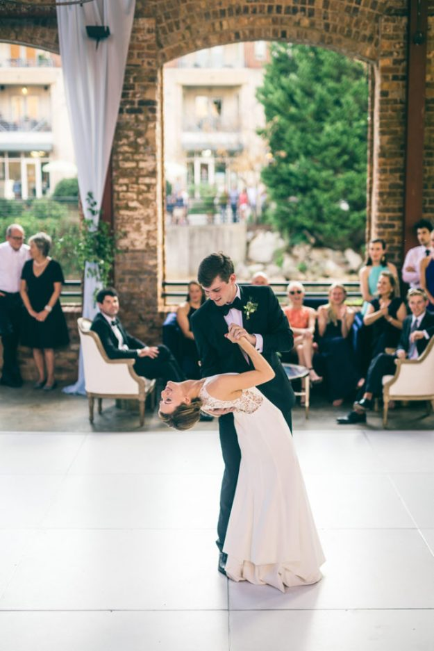 bride and groom dancing to first dance