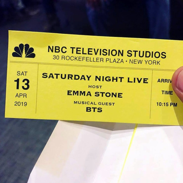 Saturday Night Live ticket for April 13, 2019 with host Emma Stone with musical guest BTS