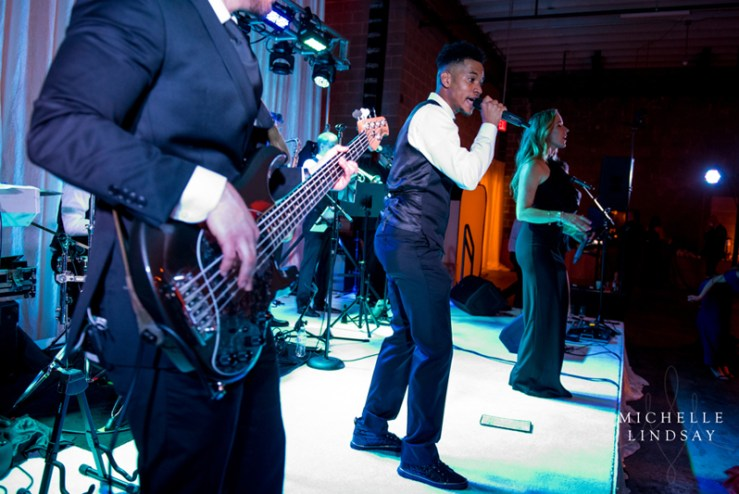 Modern Luxe band performing during wedding reception at Union Market