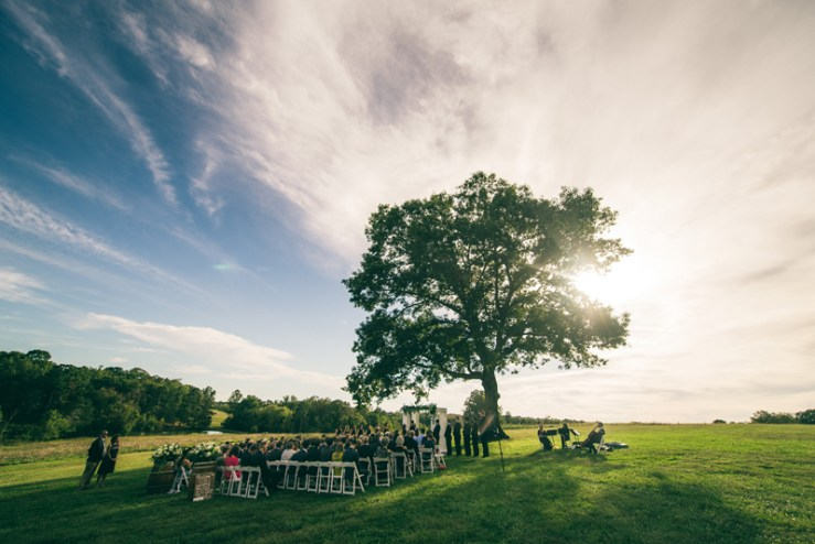 Wedding ceremony set up at Summerfield Farms wedding.