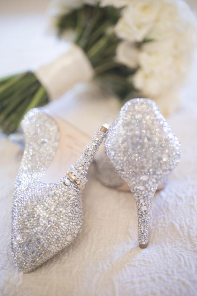 Rhinestone encrusted wedding shoes