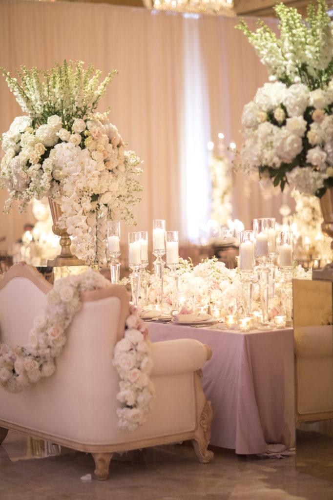 Pink wedding reception at Mar-a-Lago resort in Palm Beach, FL.