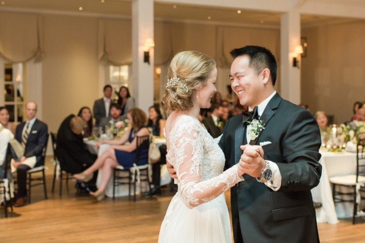 Couple dancing their first dance during Kiawah Island Club wedding reception.