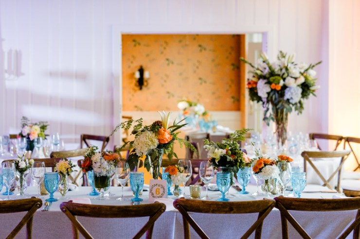Wedding reception table set up at Roaring Gap Club.