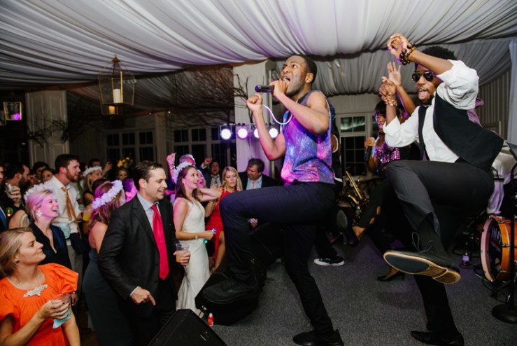Evolution wedding band performing during Roaring Gap Club wedding.