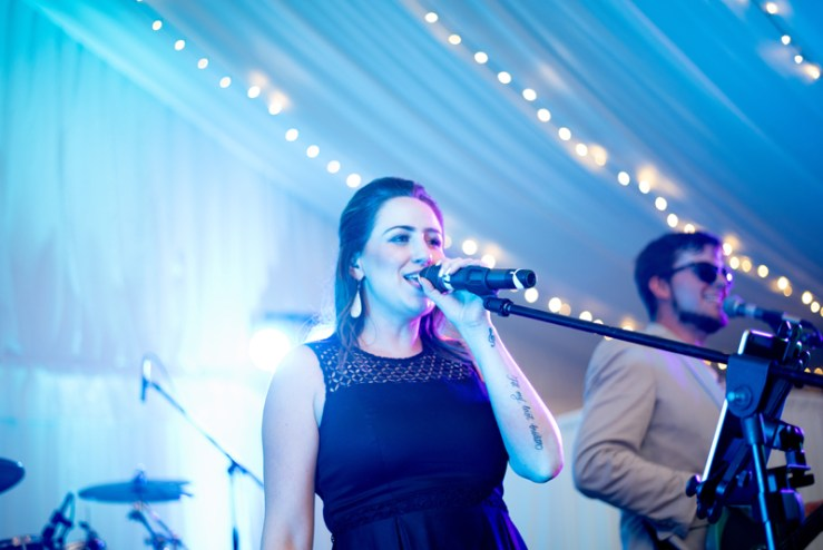 Female vocalist of Bantum Rooster band at Biltmore wedding.