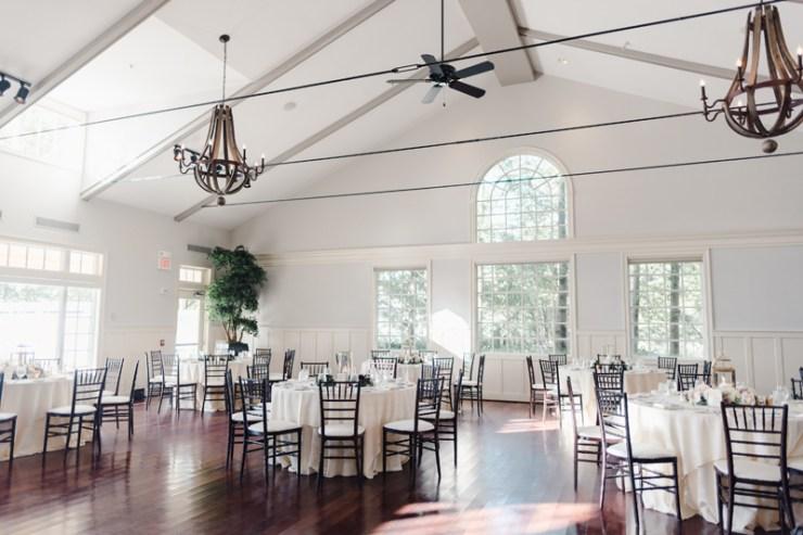 Wedding reception setup at Bride and groom dancing The Hora at Jewish wedding at Chesapeake Bay Beach Club.