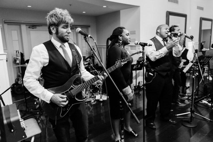 Wedding band Broadsound performing at Bride and groom dancing The Hora at Jewish wedding at Chesapeake Bay Beach Club wedding.