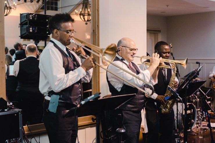 Broadsound wedding band performing at reception at Bride and groom dancing The Hora at Jewish wedding at Chesapeake Bay Beach Club.