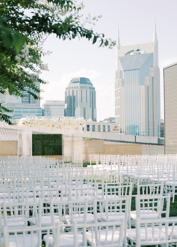 Wedding ceremony setup at the Country Music Hall of Fame in Nashville.