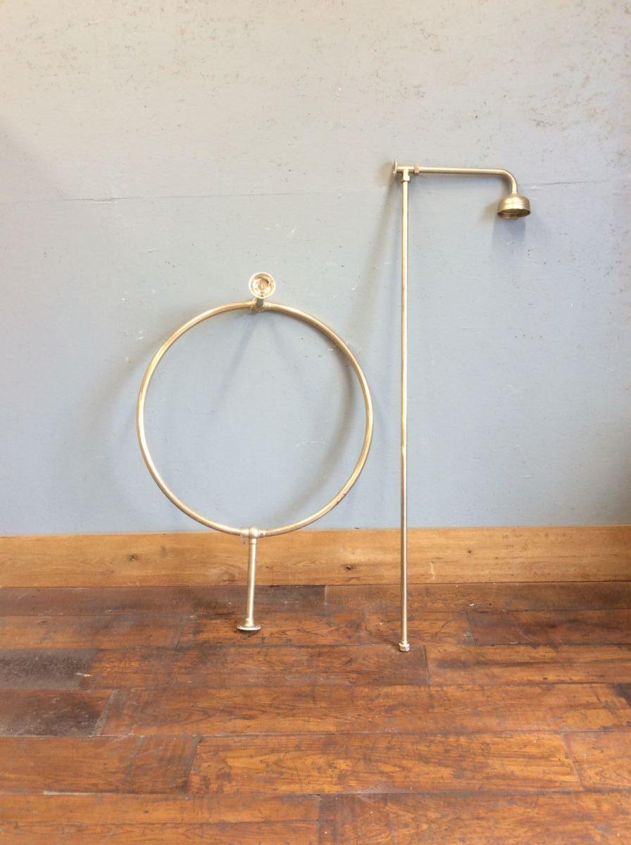 brass shower head round curtain rail