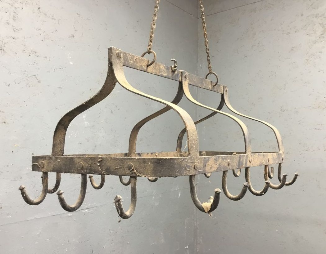 antique wrought iron hanging pot rack