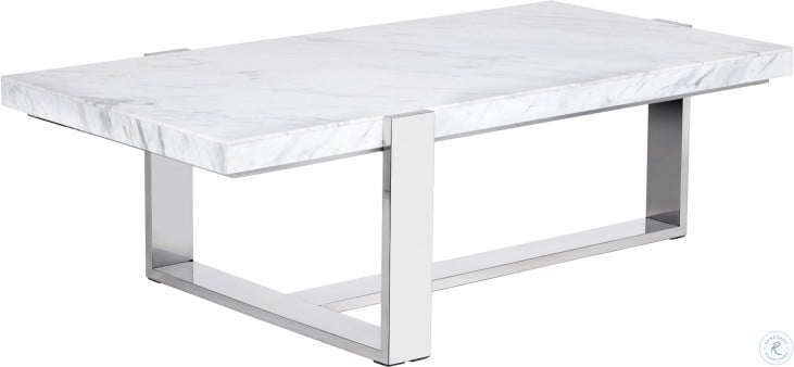 tribecca white marble rectangular coffee table