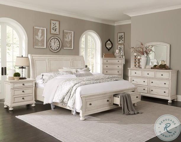 bethel wire brushed white platform storage sleigh bedroom set