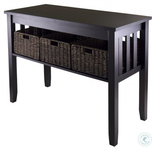 morris espresso console hall table with 3 foldable baskets