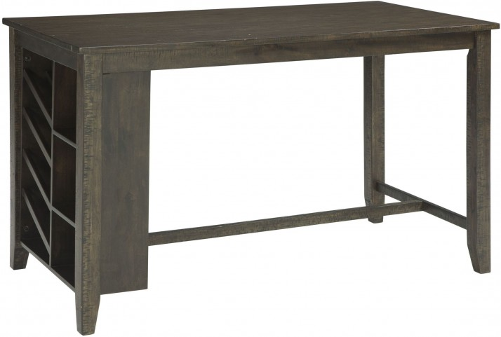 Rokane Light Brown Rectangular Counter Height Dining Table