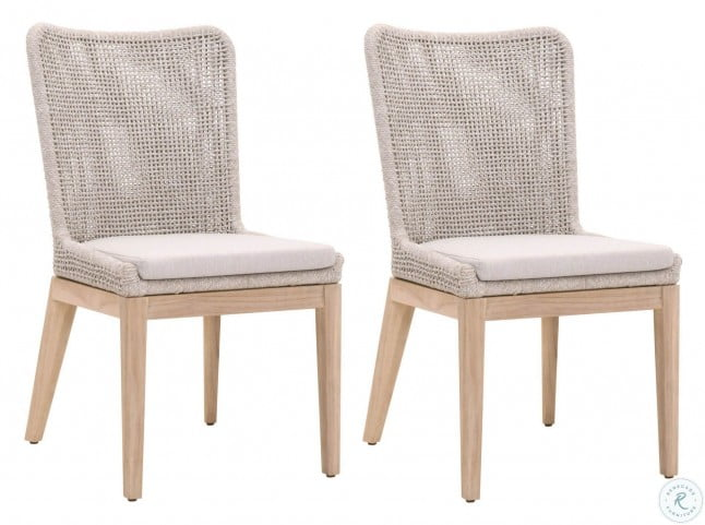 woven gray mesh outdoor dining chair set of 2