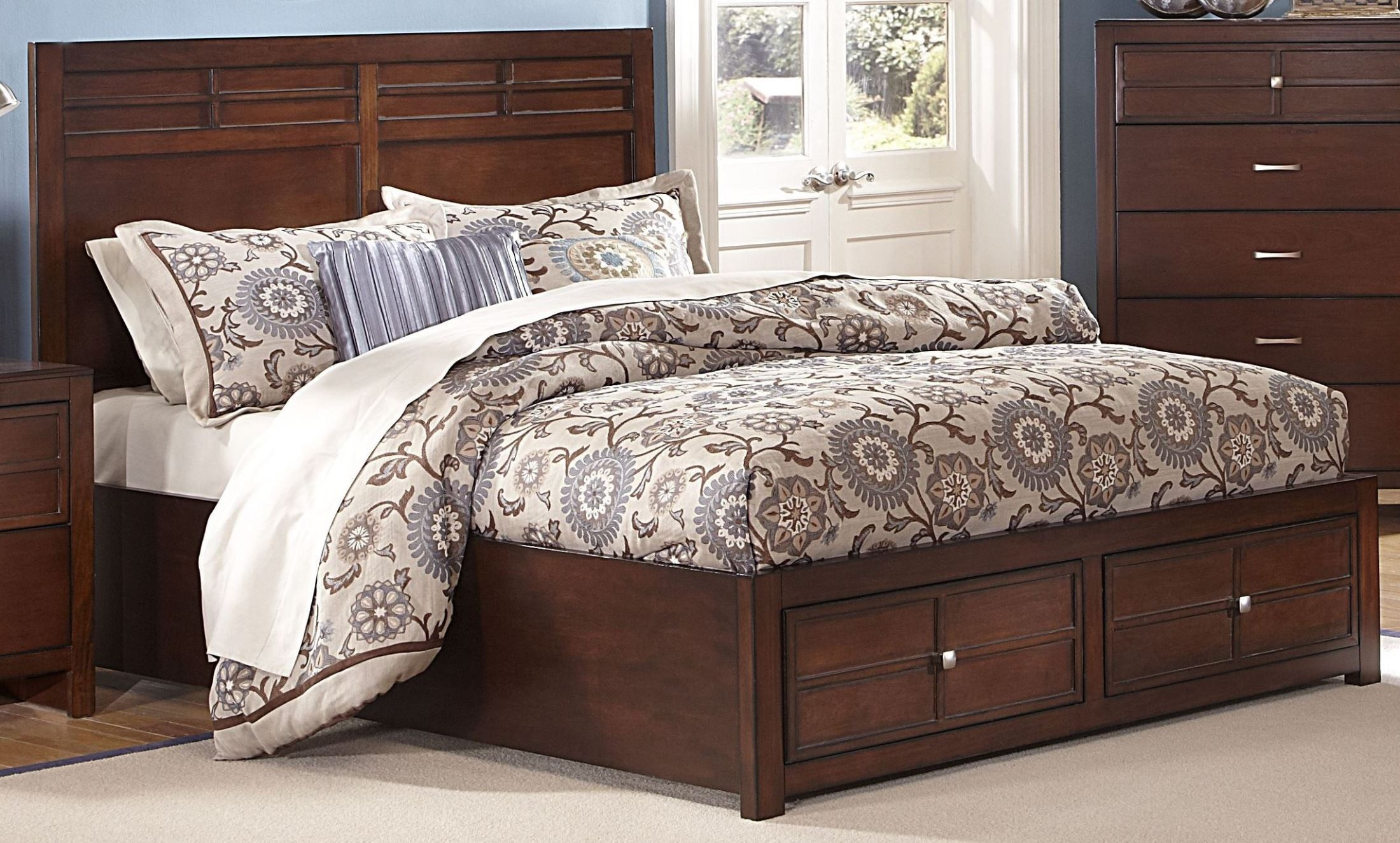 Kensington Burnished Cherry Cal King Platform Storage Bed