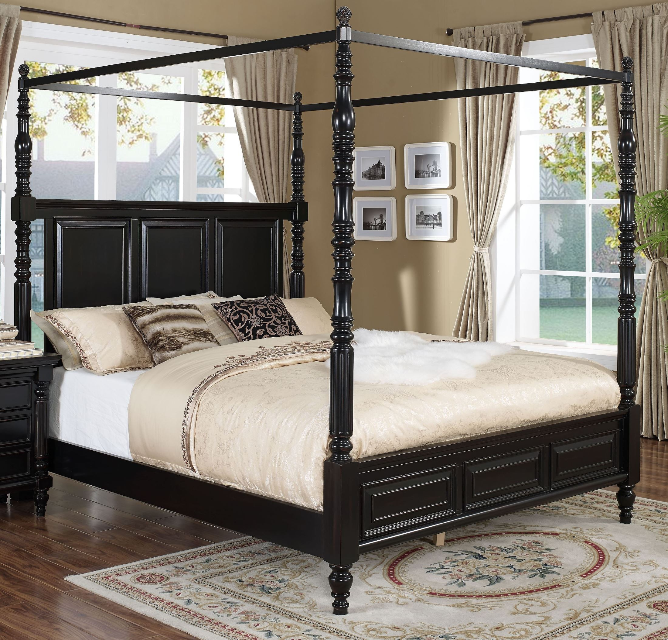 Martinique Rubbed Black Cal King Canopy Bed With D S