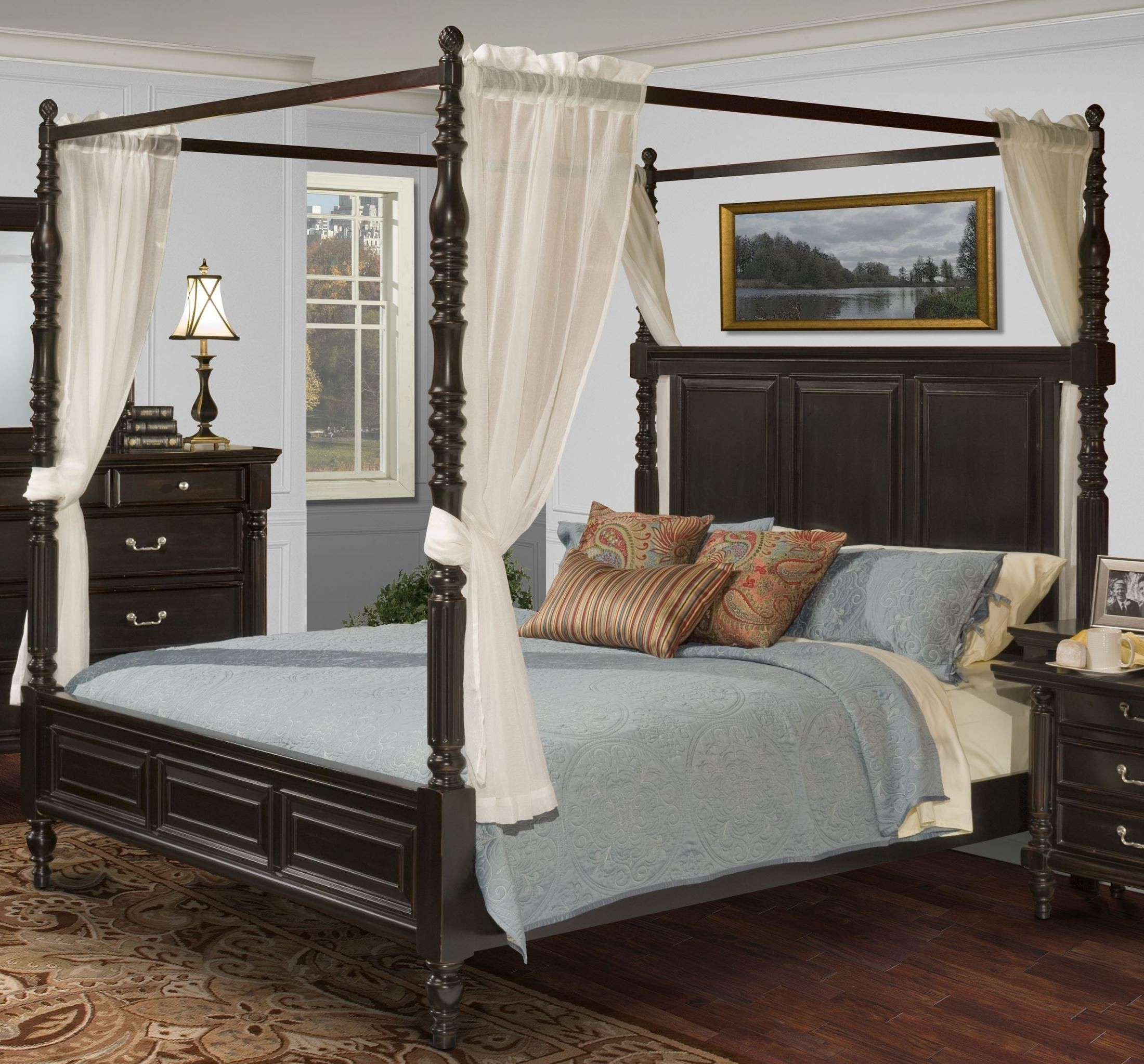Martinique Rubbed Black Calng Canopy Bed With D S