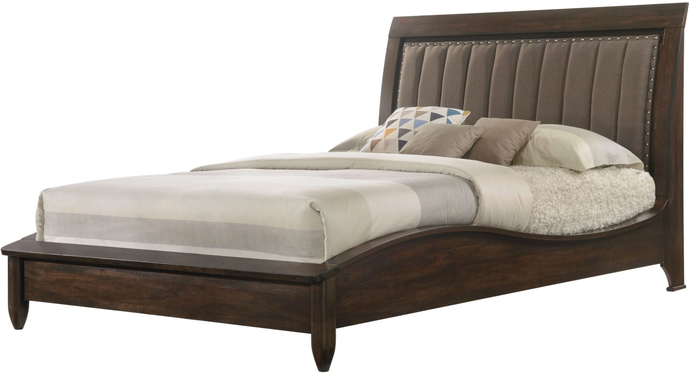 Windsong Walnut Cal King Upholstered Platform Bed From