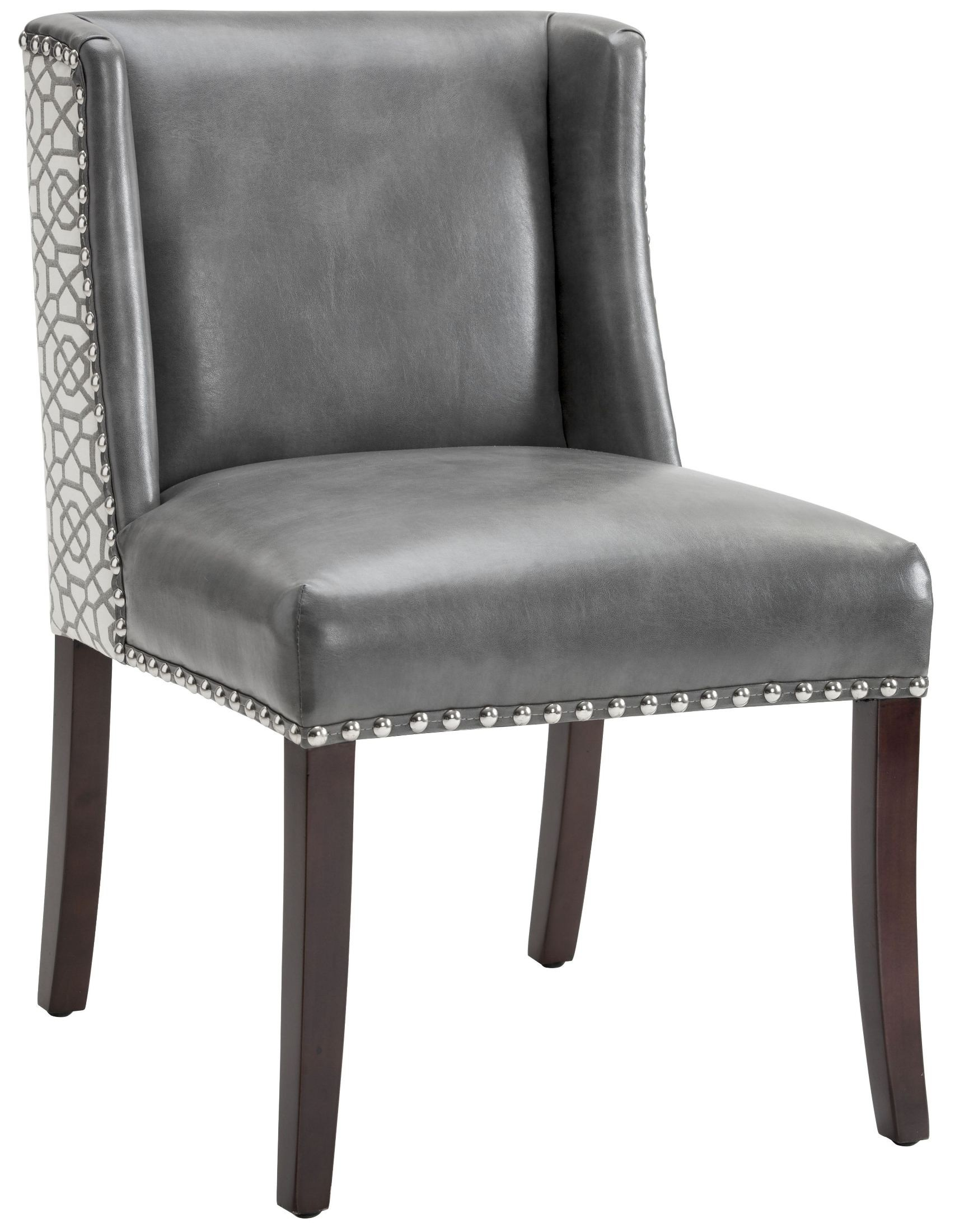 Marlin Grey Leather And Diamond Fabric Dining Chair Set Of