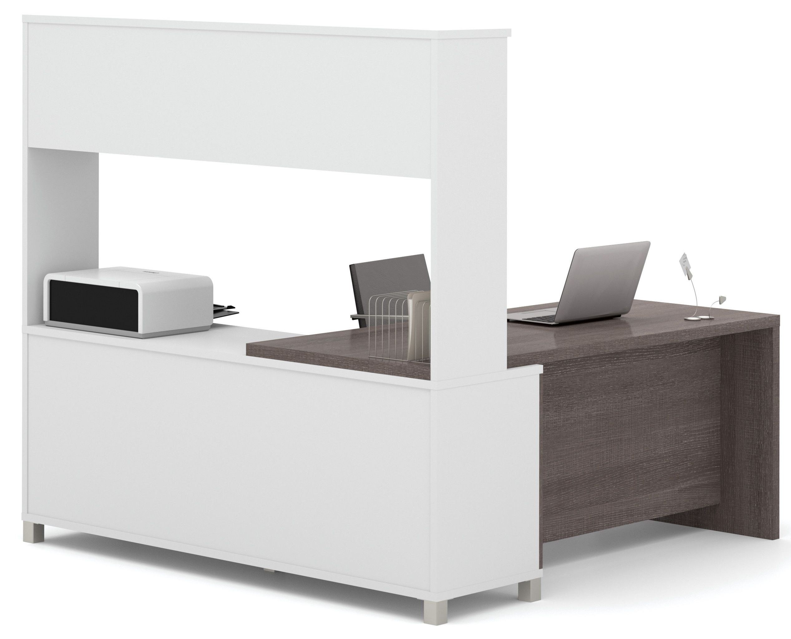 Pro-Linea White & Bark Grey Drawer L-Desk With Hutch From