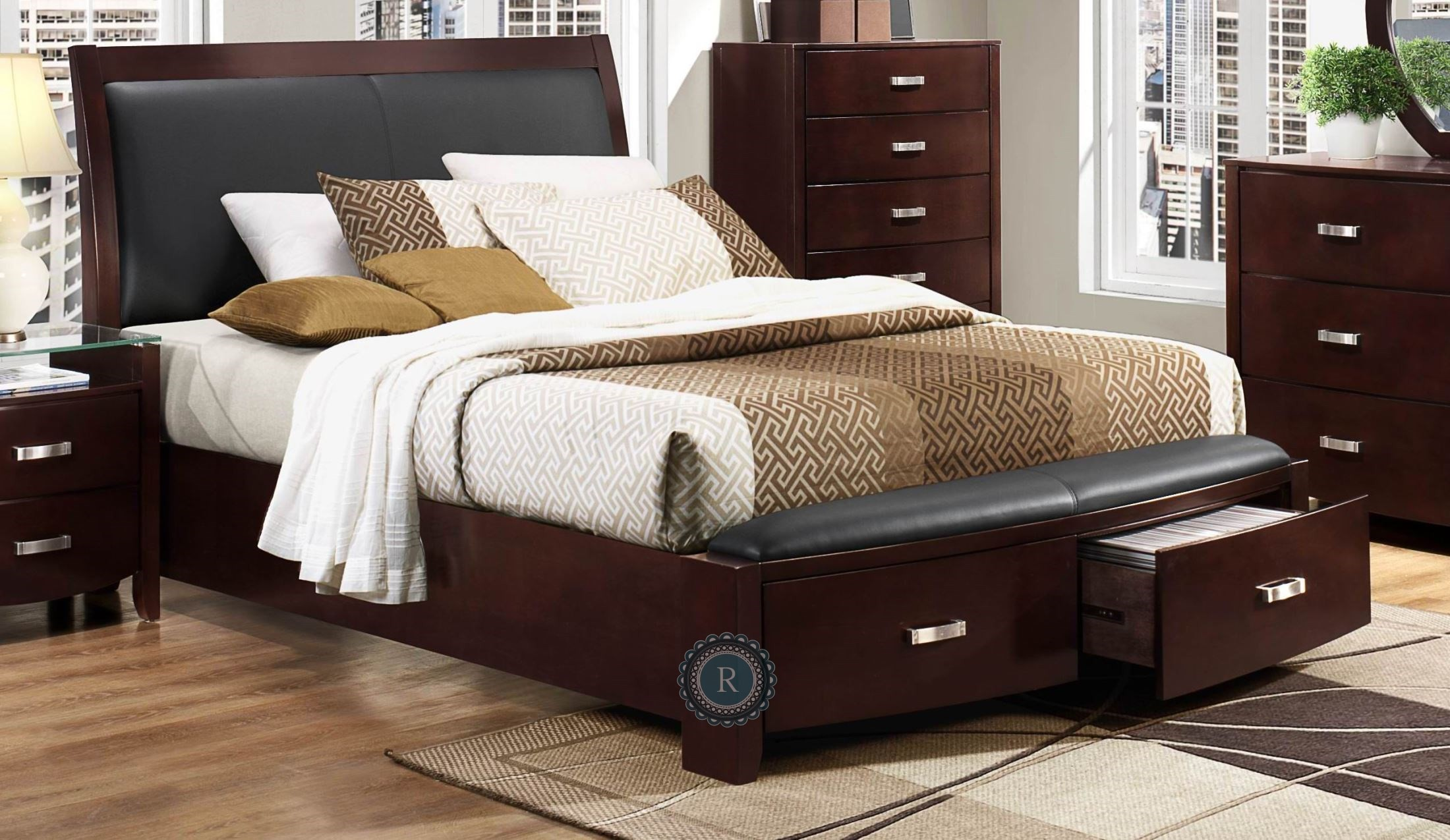 Lyric Espresso Cal King Sleigh Storage Bed From