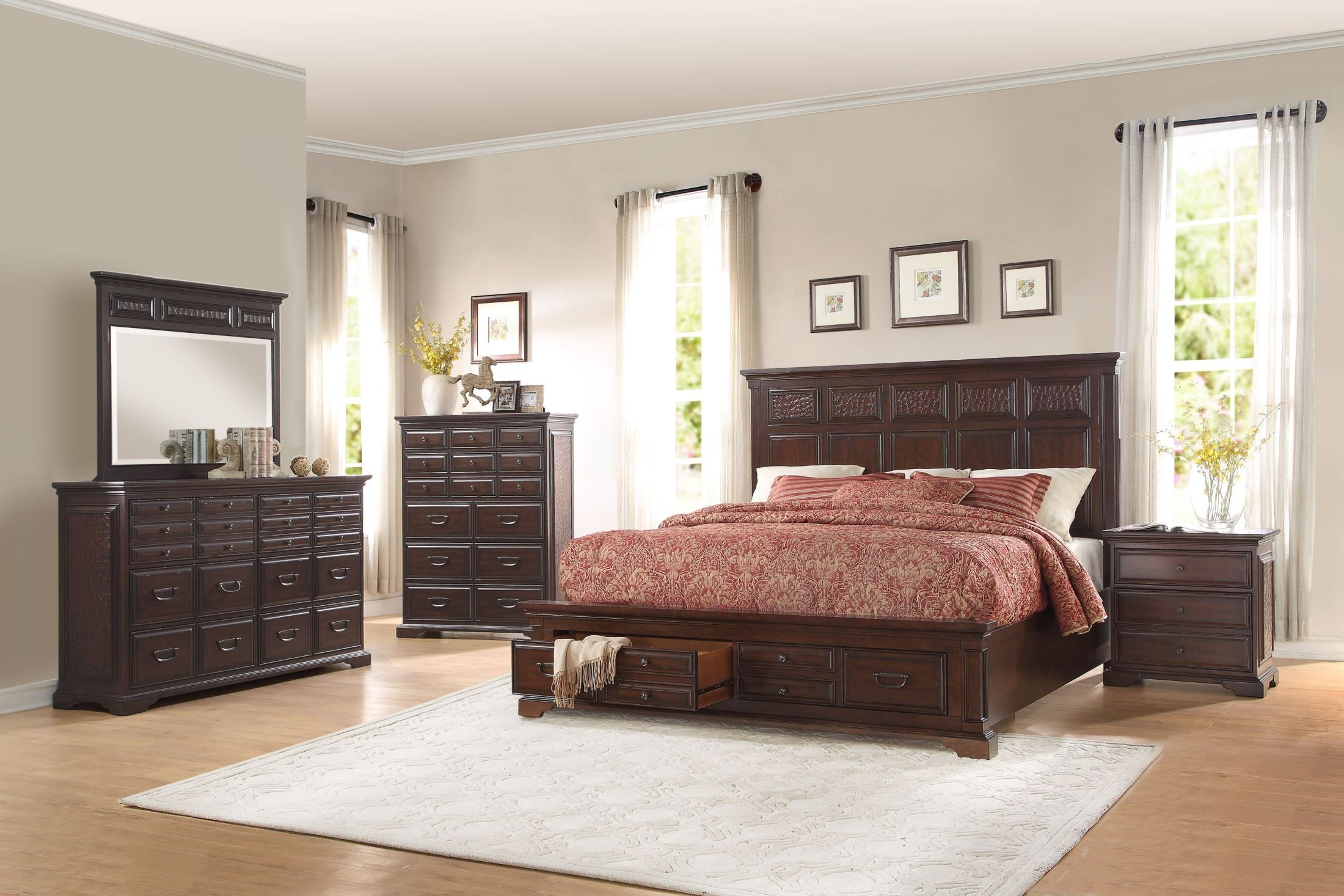 Cranfills Cherry Cal King Storage Platform Bed From