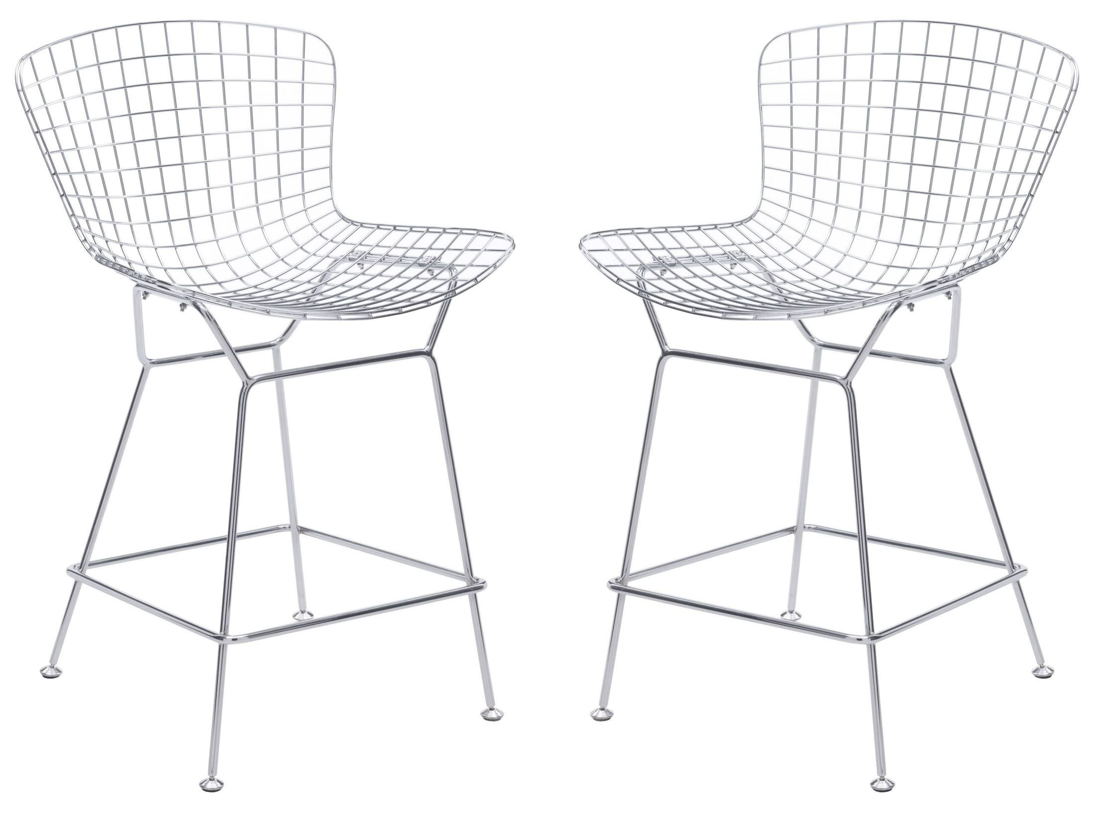 Wire Chrome Counter Chair Set Of 2 From Zuo