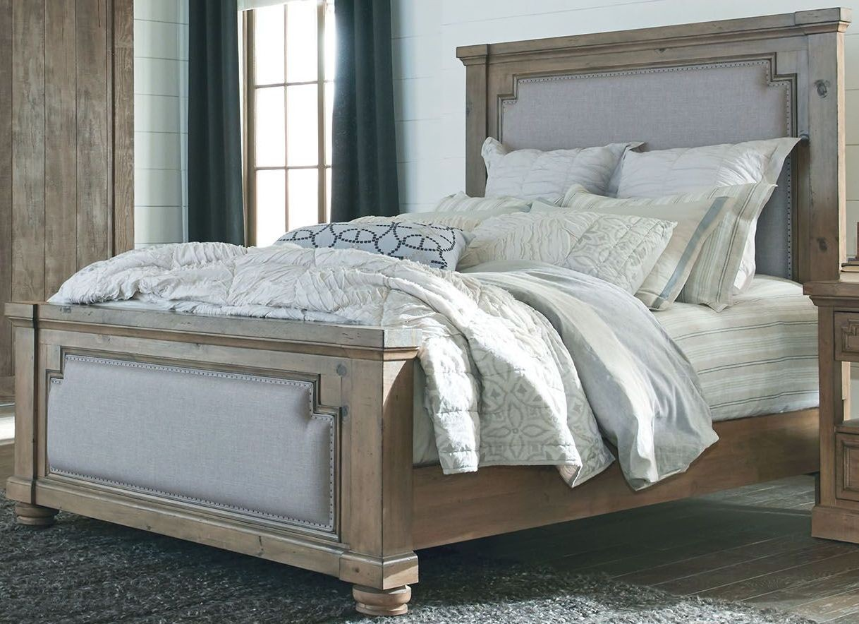 Modern Vintage Rustic Smoke King Upholstered Panel Bed By Donny Osmond From Coaster Coleman