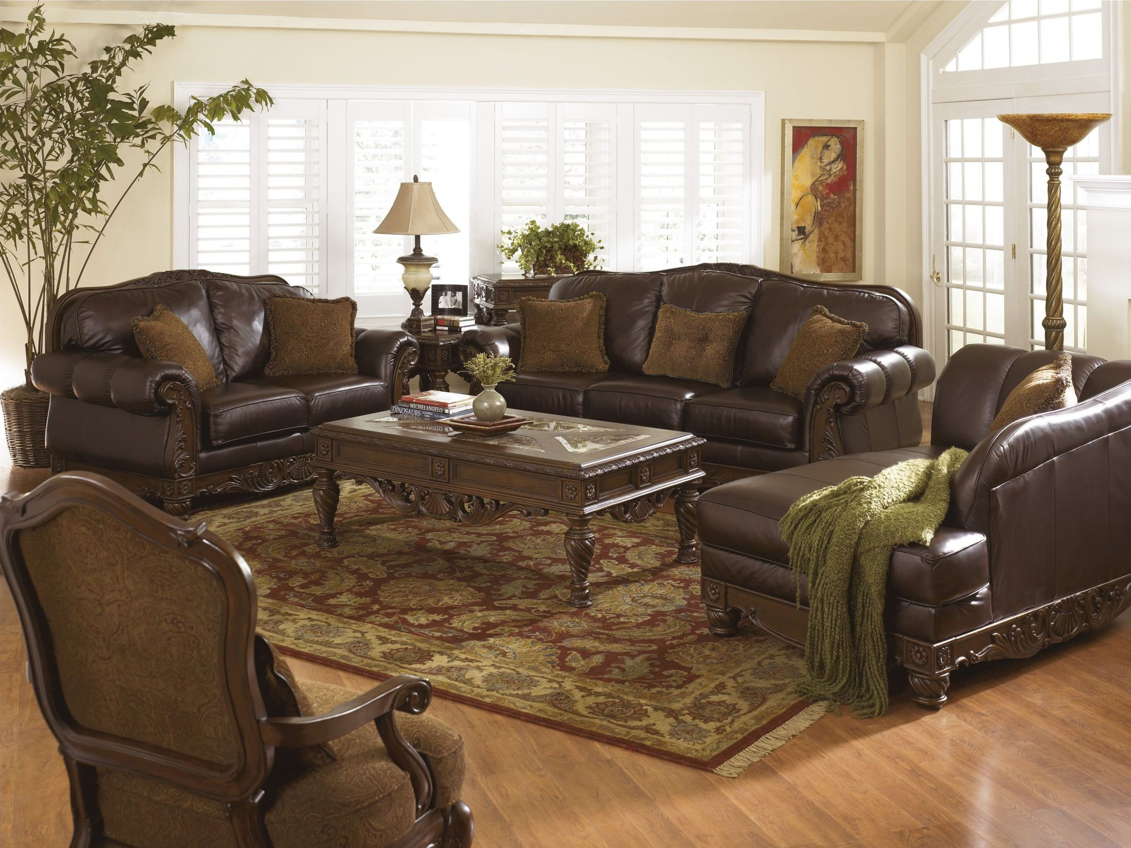 north shore dark brown living room set from ashley (22603) | coleman