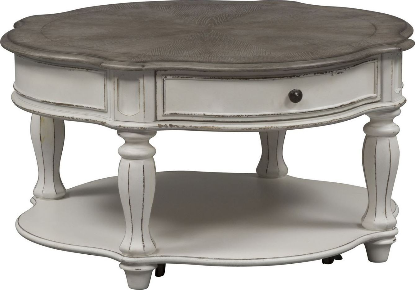 Magnolia Manor Antique White Round Cocktail Table From