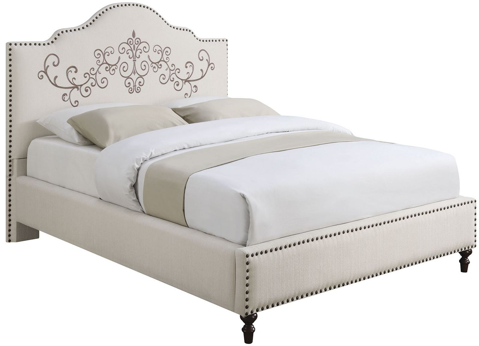 Homecrest Cream Upholstered King Platform Bed Ke