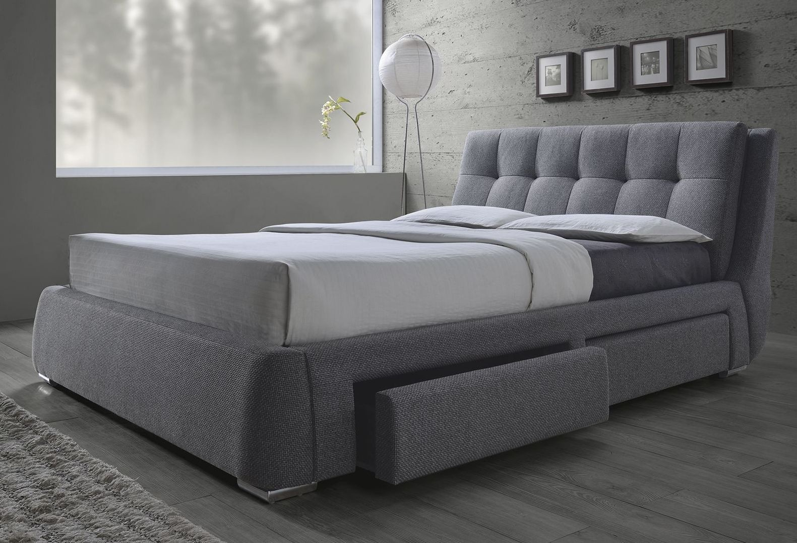 Fenbrook Gray Cal King Platform Storage Bed From Coaster