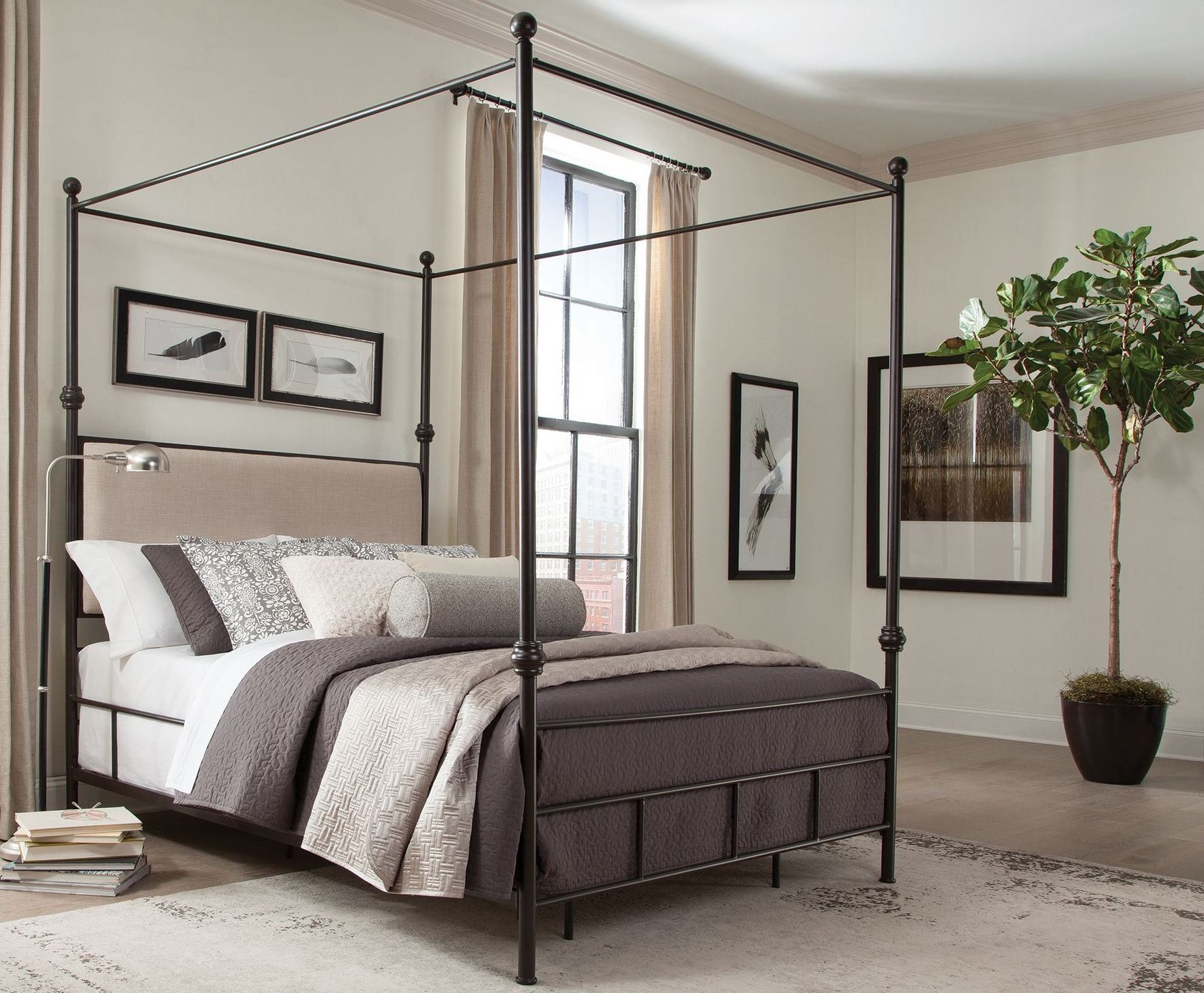 Lanchester Cal King Metal Canopy Bed Kw Donny Osmond