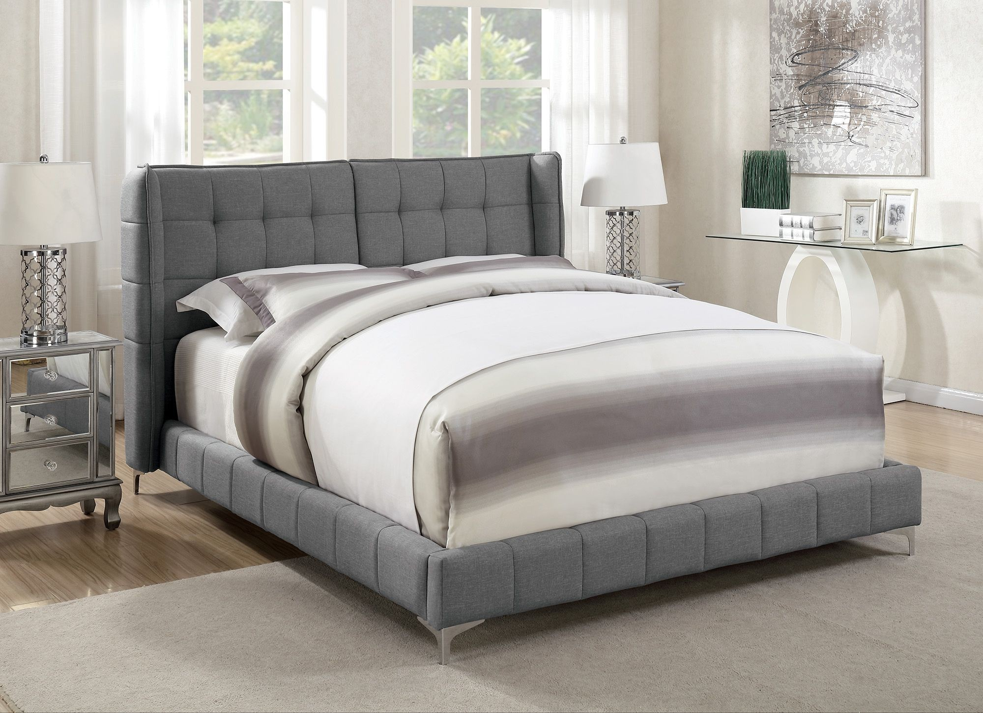 Goleta Light Gray King Upholstered Platform Bed From