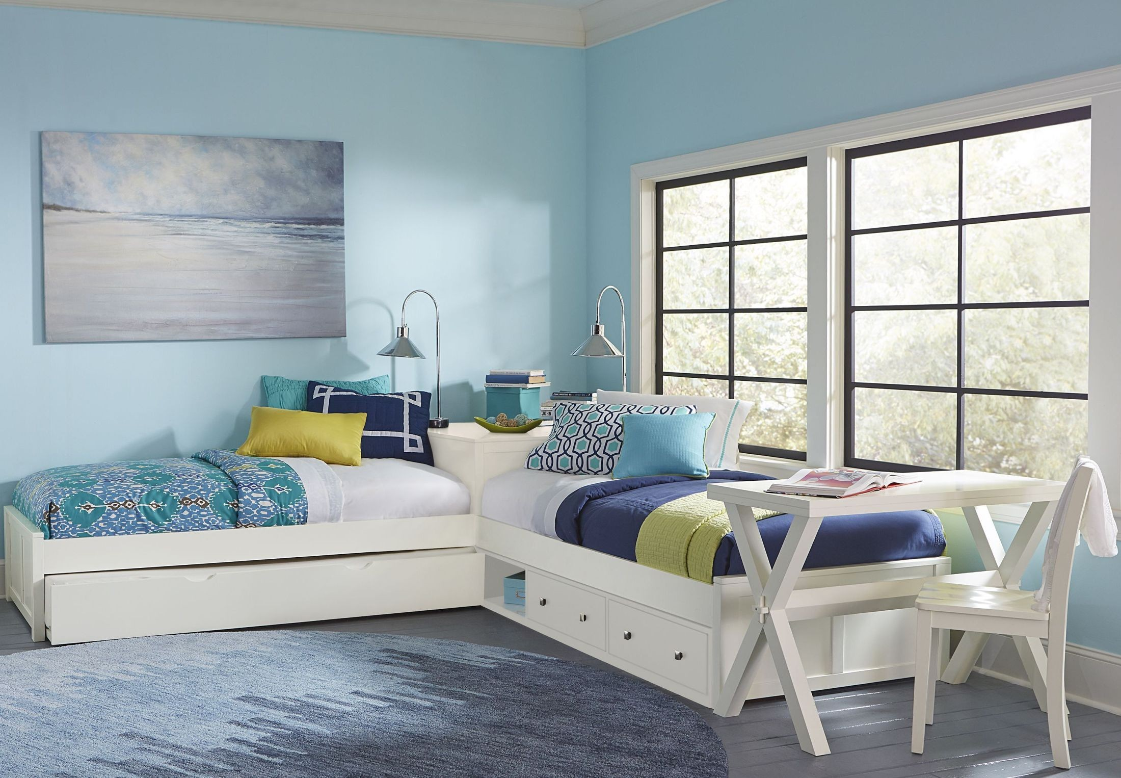 Pulse White Twin L Shape Panel Bed With Storage Amp Trundle