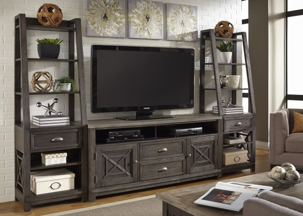 Heatherbrook Charcoal and Ash Entertainment Wall Unit from ...