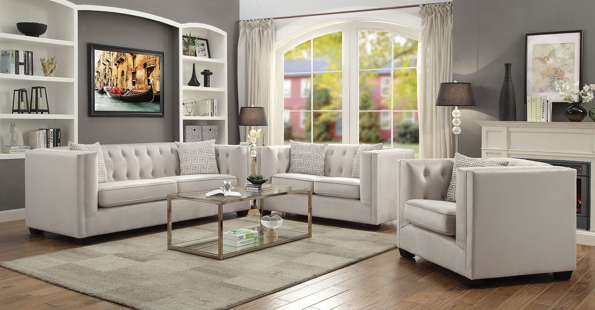 Sunderland Ivory Living Room Set From Coaster