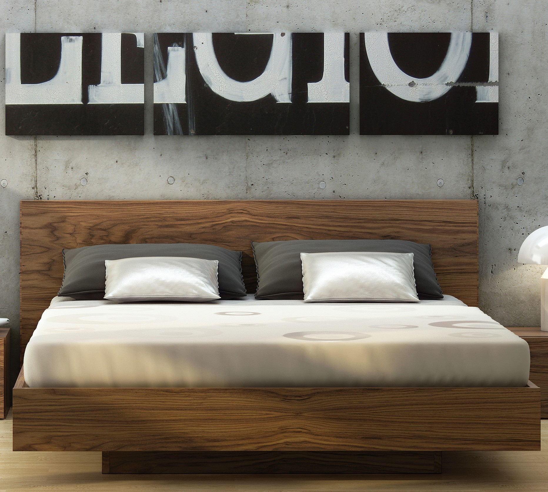 Float Walnut King Size Bed From Tema Home