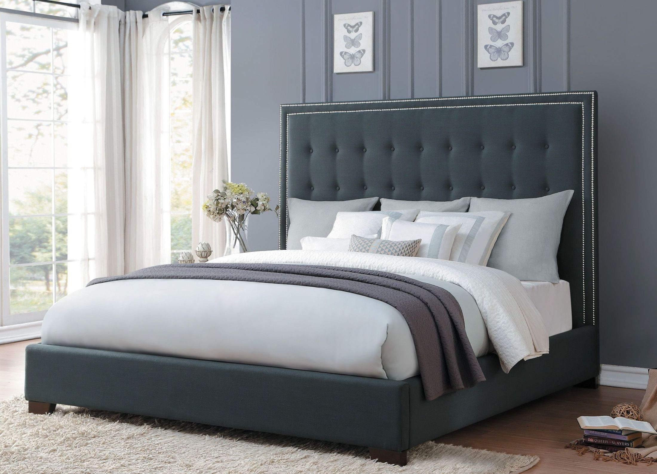 Jervis Dark Grey Cal King Upholstered Bed From