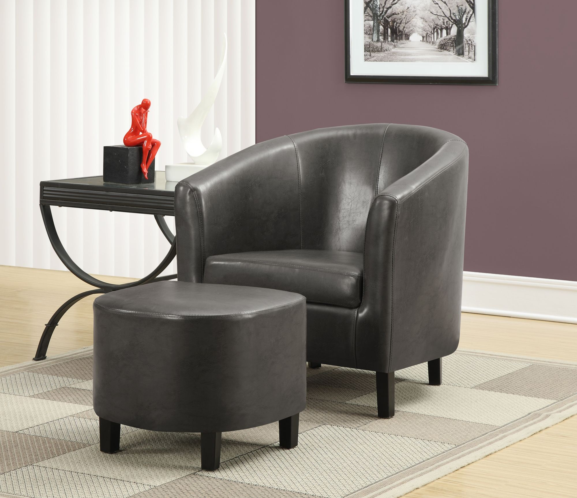 Gray Accent Chair Ottoman